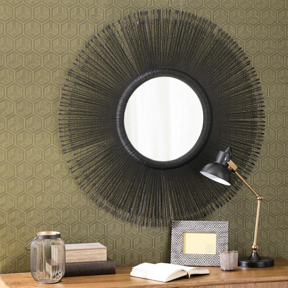 Specchio rotondo nero in metallo d 92 cm kazemb maisons - Specchio rotondo ...