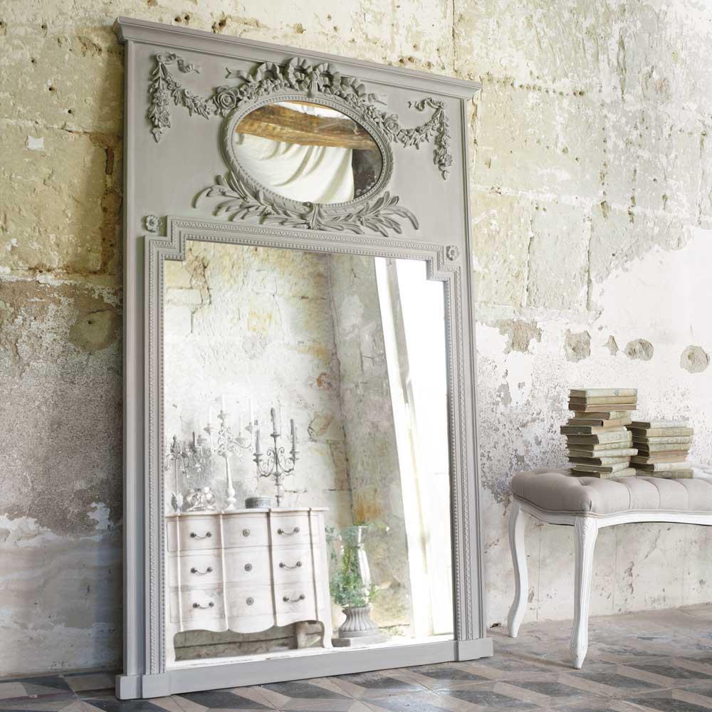 Specchio Trumeau Grigio In Legno H 160 Cm Mirano Maisons