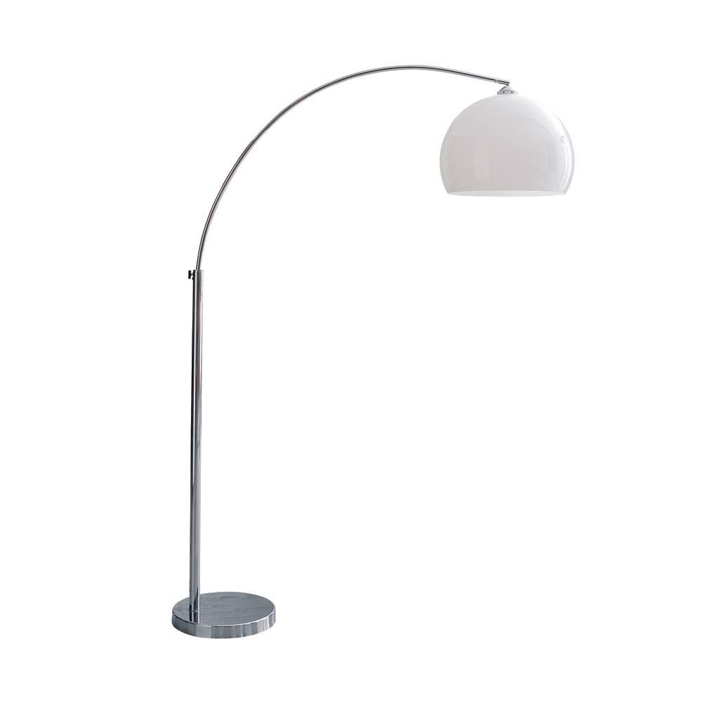Sph 200 Re Chrome Finish Metal And Plastic Floor Lamp In White H 209cm Maisons Du Monde
