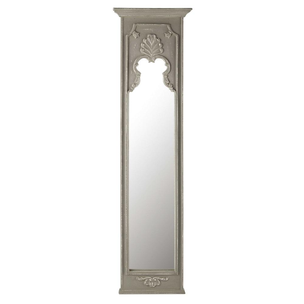 spiegel alice mit rahmen aus mangoholz h 160 cm grau maisons du monde. Black Bedroom Furniture Sets. Home Design Ideas