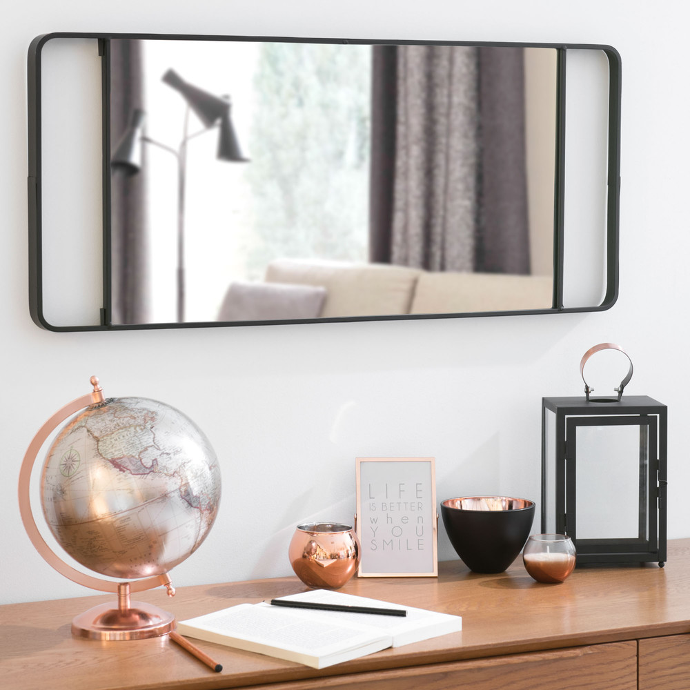 spiegel in zwart metaal h 64 cm nelligan maisons du monde. Black Bedroom Furniture Sets. Home Design Ideas