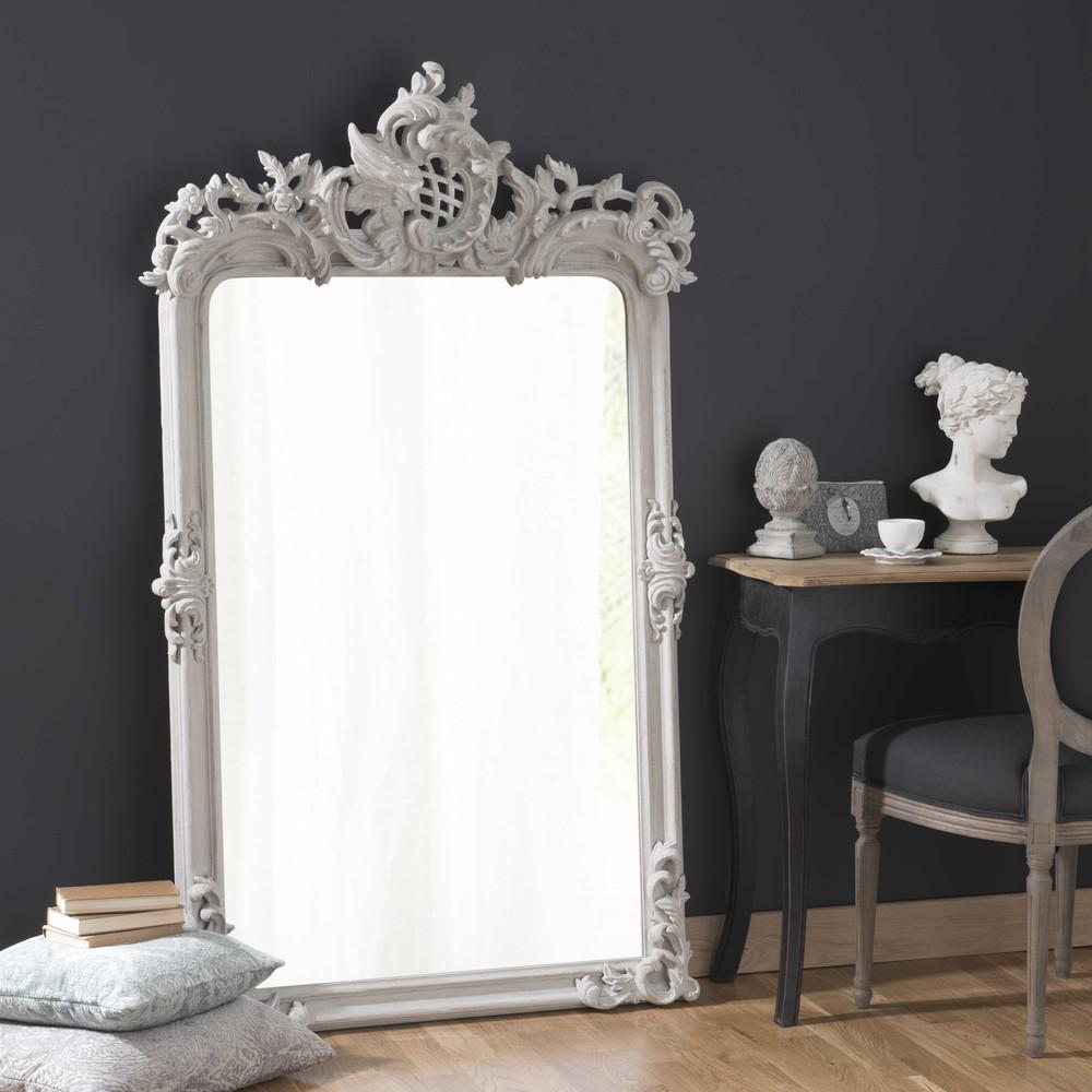 spiegel isaure mit rahmen aus holz und kunstharz h 160 cm grau maisons du monde. Black Bedroom Furniture Sets. Home Design Ideas