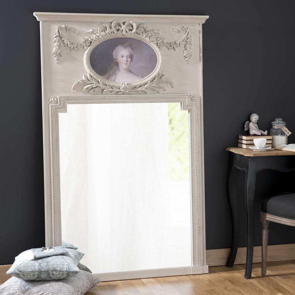spiegel met houten lijst grijs hoogte 160 cm s vign maisons du monde. Black Bedroom Furniture Sets. Home Design Ideas