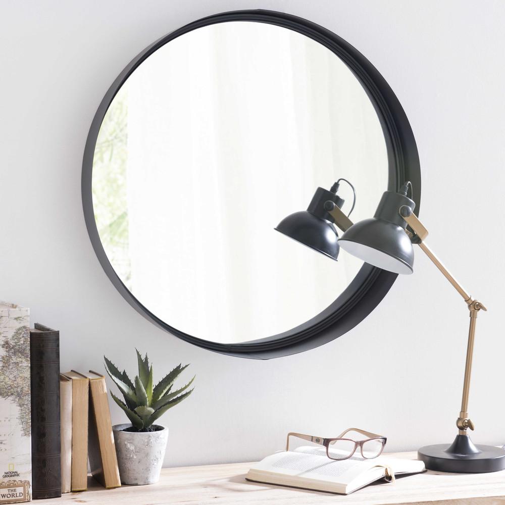 Spiegel met metalen lijst zwart diameter 60 cm clifford maisons du monde - Metalen spiegel ...