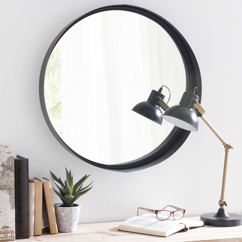 Spiegel met metalen lijst zwart diameter 60 cm clifford - Specchi bagno maison du monde ...