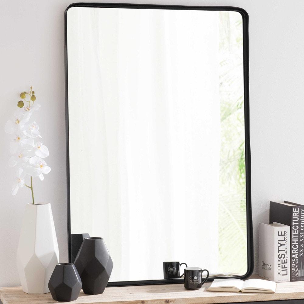Spiegel met metalen lijst zwart hoogte 110 cm weston maisons du monde - Metalen spiegel ...