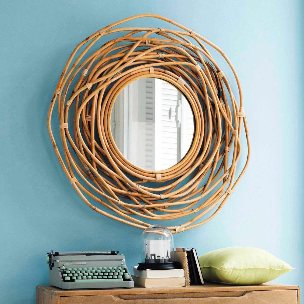 spiegel rund aus bambus d 90 cm sumba maisons du monde. Black Bedroom Furniture Sets. Home Design Ideas
