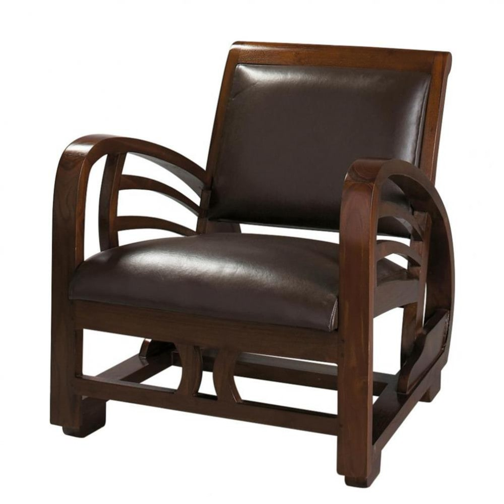 split leather armchair in brown charleston maisons du monde. Black Bedroom Furniture Sets. Home Design Ideas