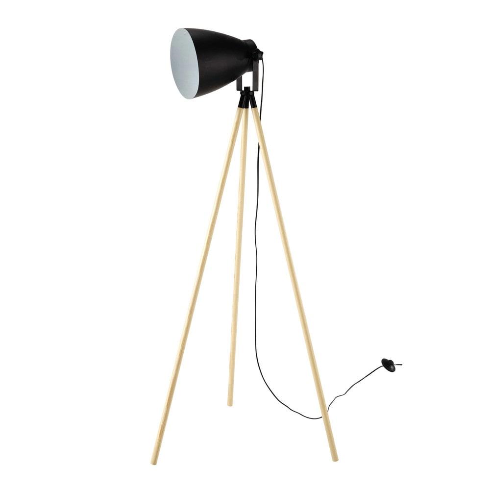 floor lamps spot light wood and black metal tripod floor lamp h. Black Bedroom Furniture Sets. Home Design Ideas