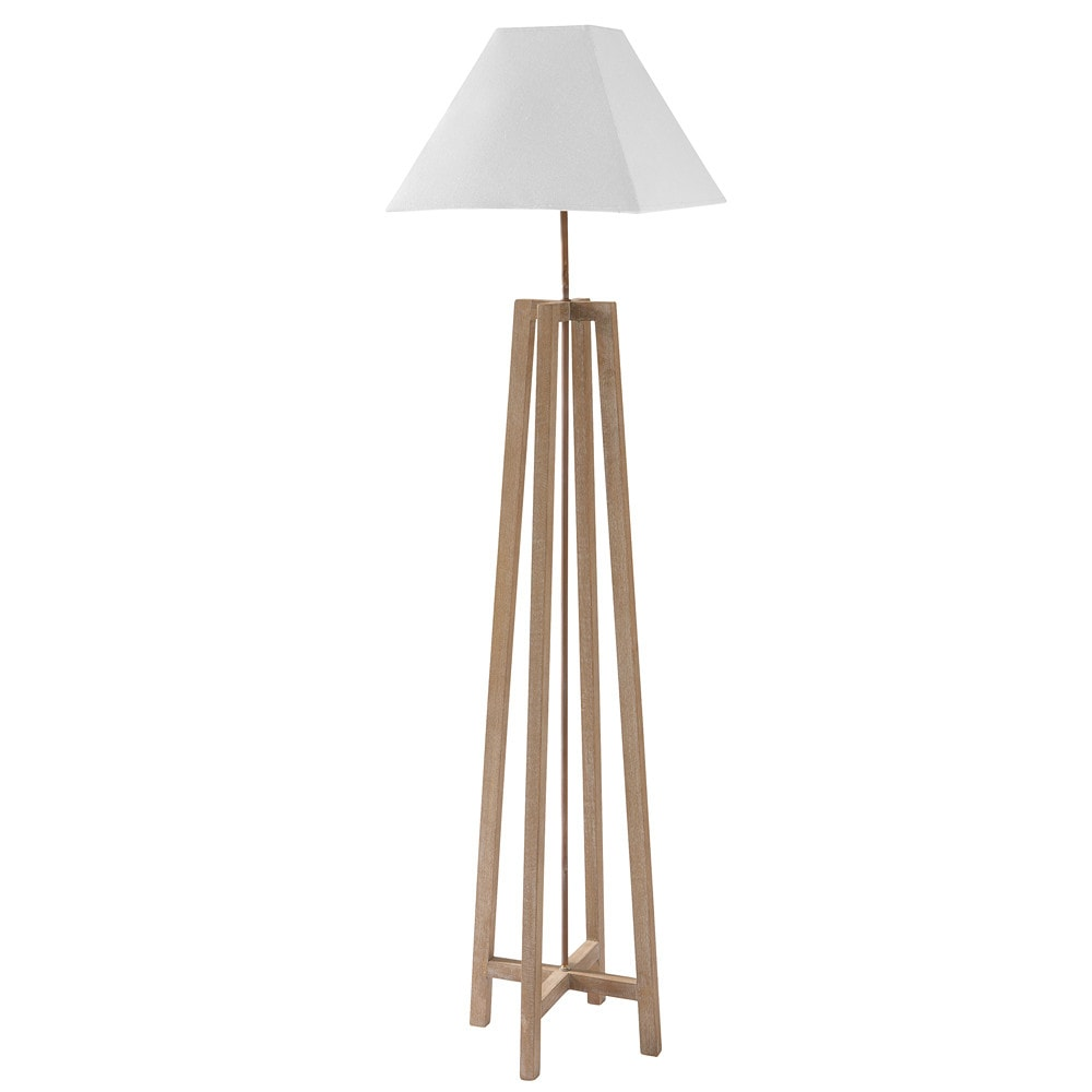 square wood and fabric floor lamp in white h 155cm. Black Bedroom Furniture Sets. Home Design Ideas