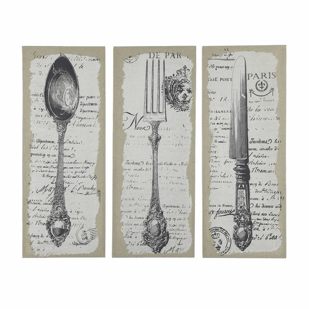 St florent triptych of 3 cutlery pieces wood amp linen 50 x 130cm maisons du monde