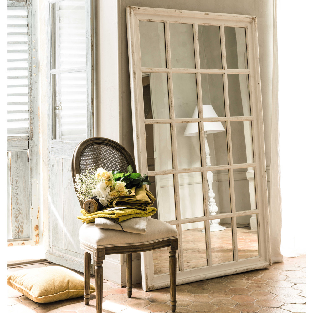 st martin wooden window mirror in white h 175cm maisons du monde. Black Bedroom Furniture Sets. Home Design Ideas