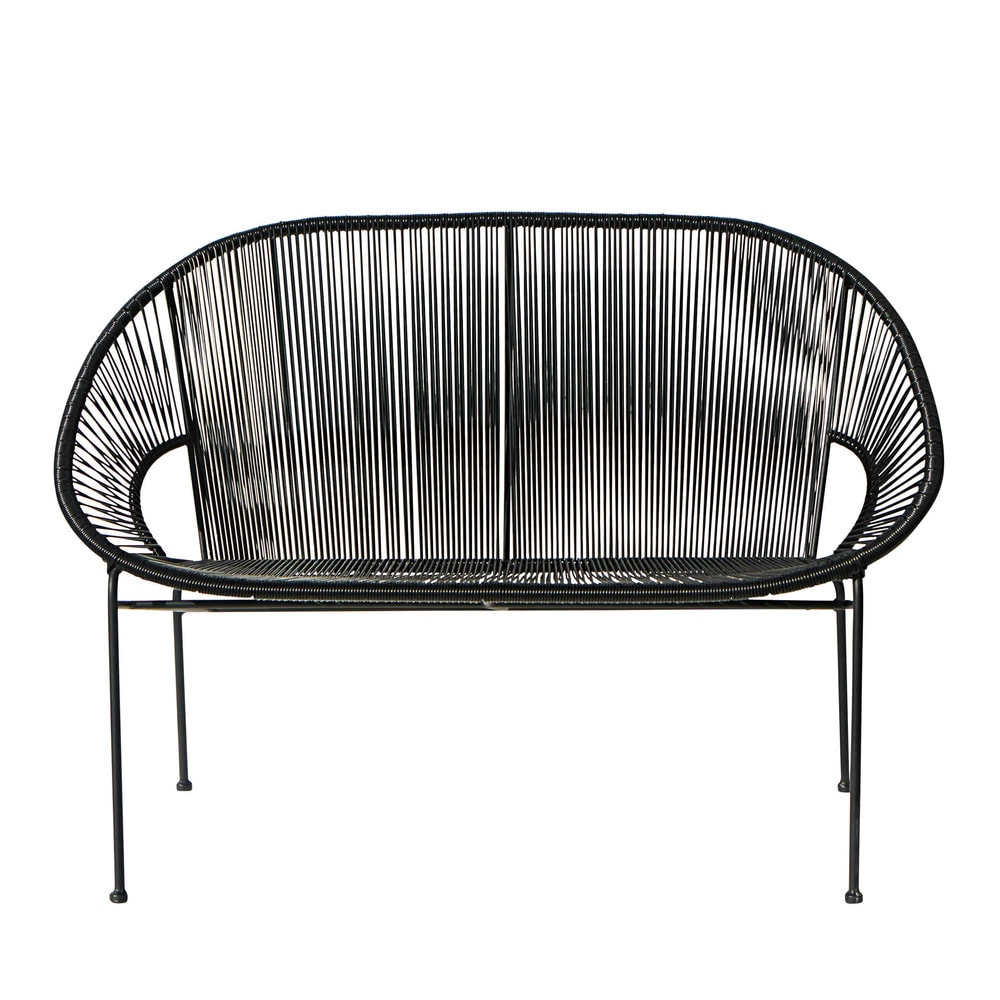 Stackable 2 3 seater garden bench in resin string and black metal copacabana - Fauteuil copacabana noir ...