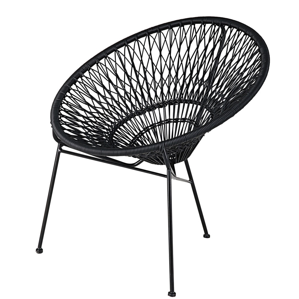 Stackable garden armchair in resin string and black metal itapema maisons du monde - Maison du monde rocking chair ...