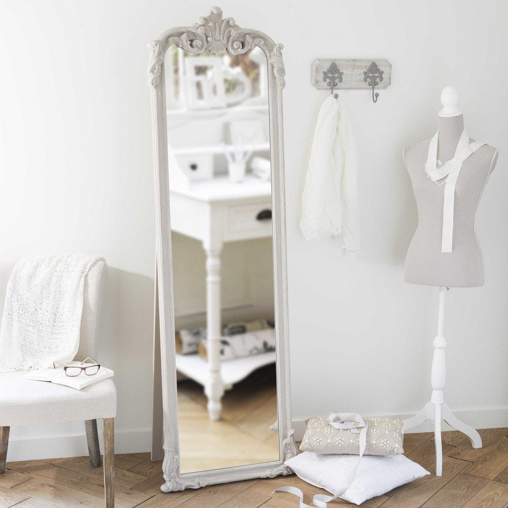 Standspiegel aus holz beige h 178 cm elina maisons du monde for Espejos de cuerpo completo vintage