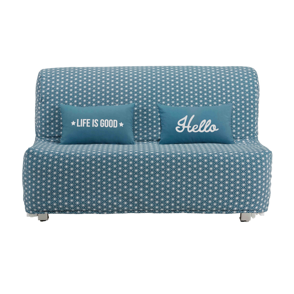 Star-Print Teal Blue Cotton Futon Sofa Bed Cover