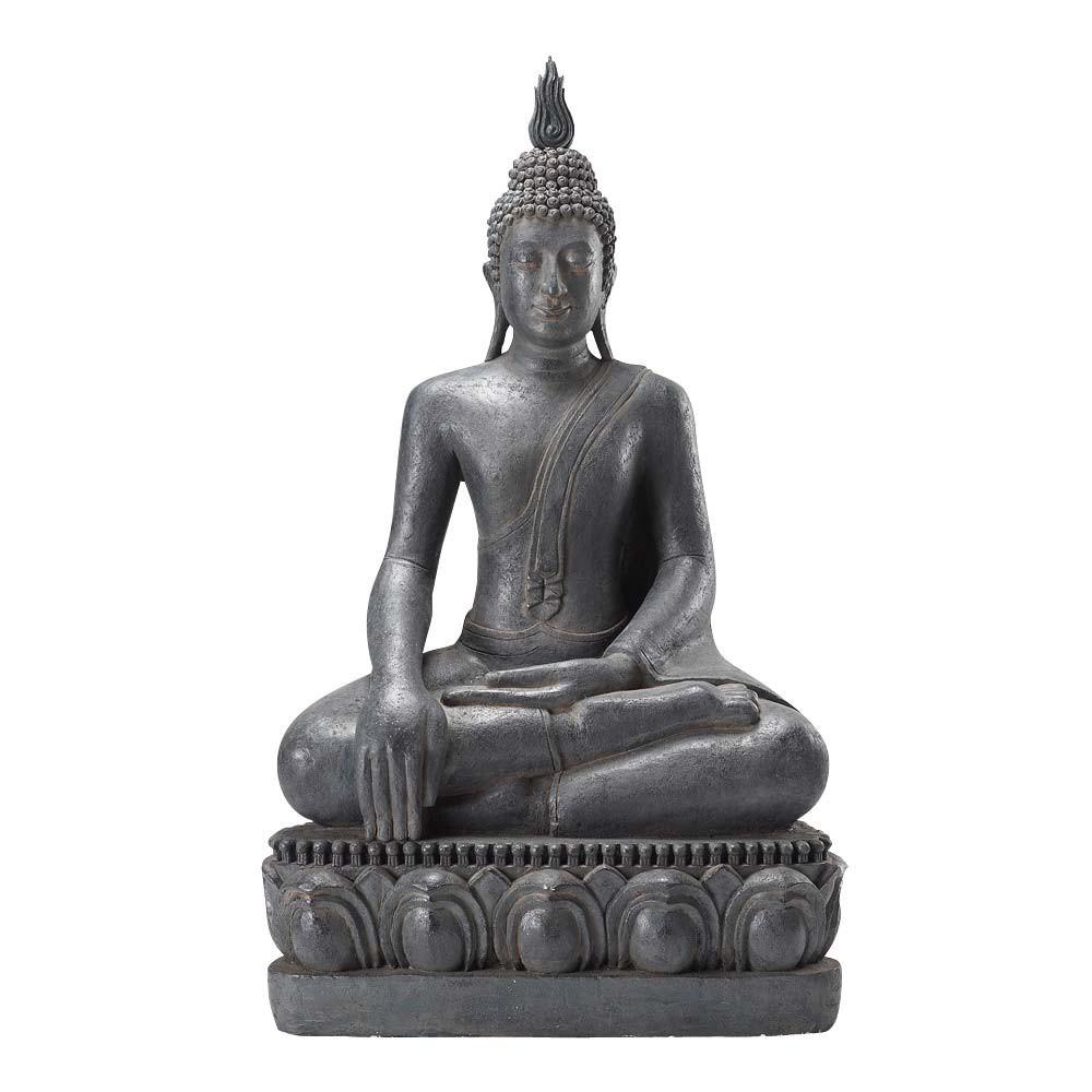 Statue bouddha assis en r sine grise h 150 cm maisons du monde - Statue resine design ...