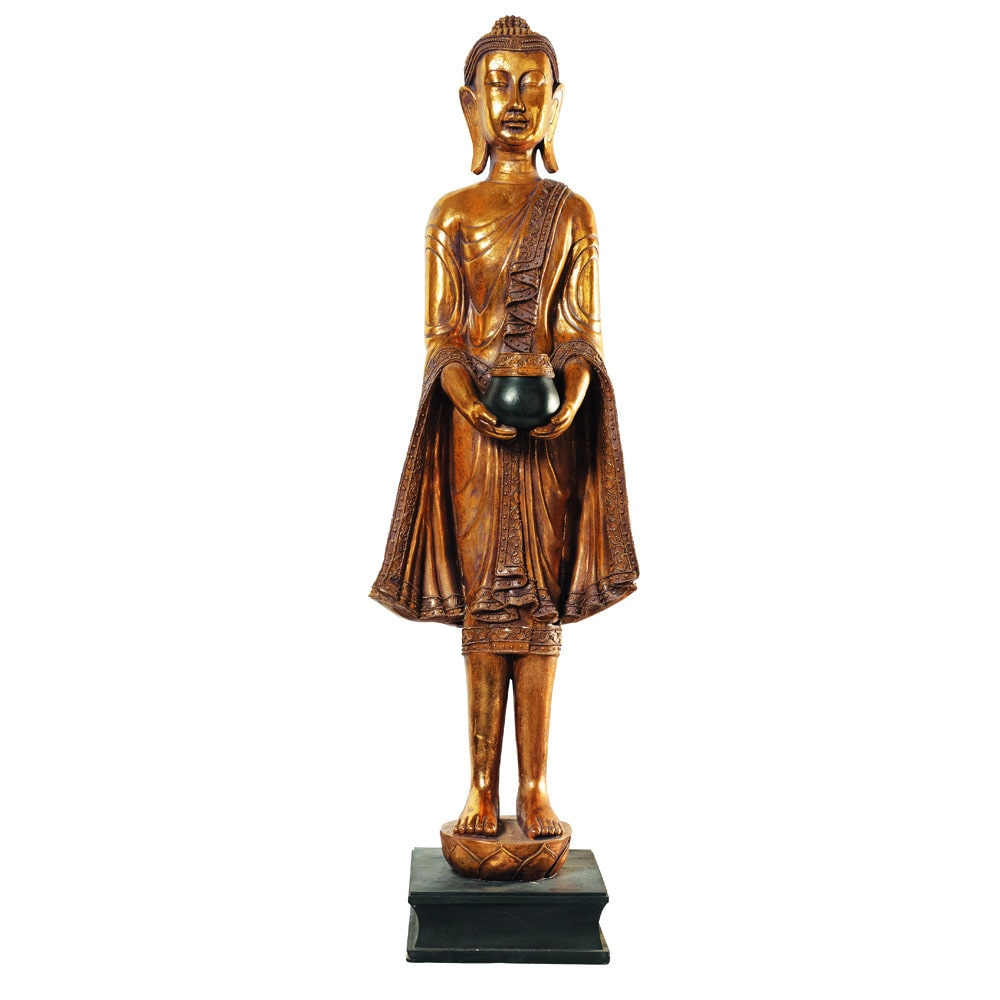 statue bouddha debout en r sine dor e h 142 cm maisons du monde. Black Bedroom Furniture Sets. Home Design Ideas