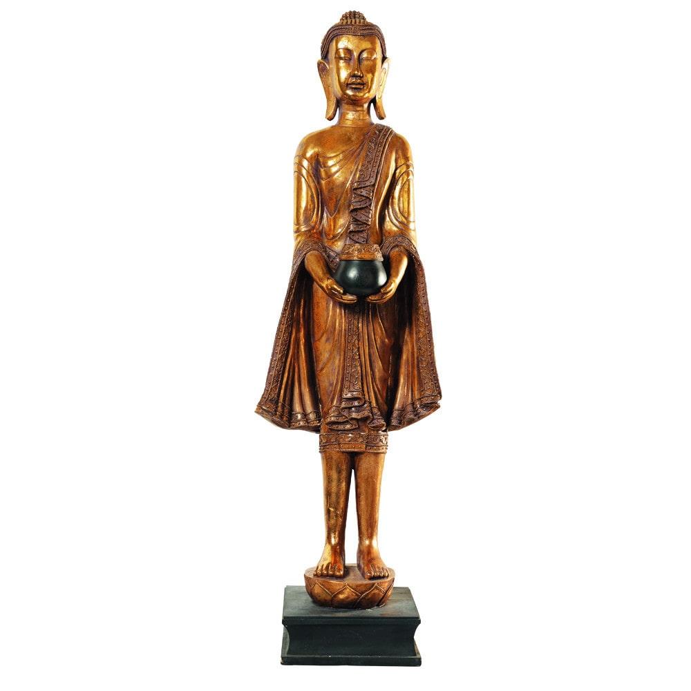 statue bouddha debout en r sine dor e h 142 cm maisons du monde. Black Bedroom Furniture Sets. Home Design Ideas