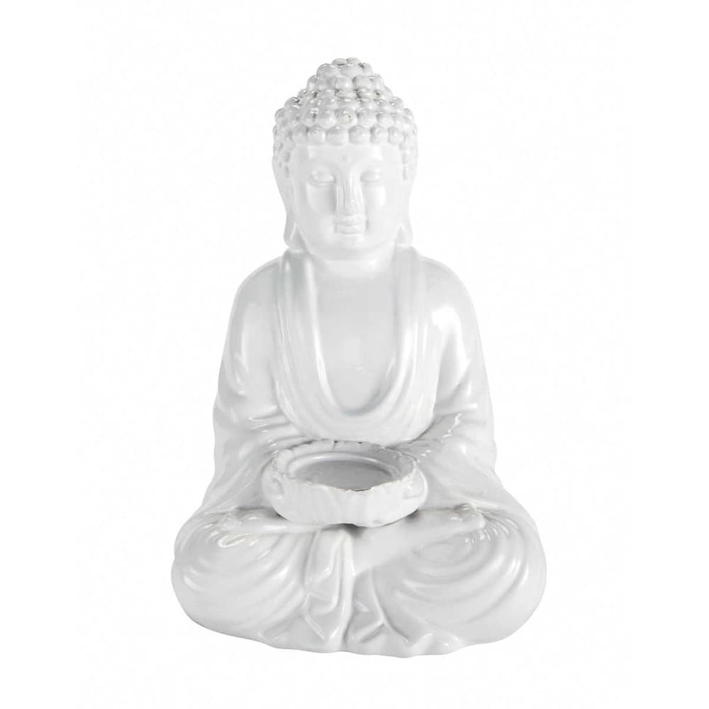 statue d co little bouddha blanc maisons du monde. Black Bedroom Furniture Sets. Home Design Ideas