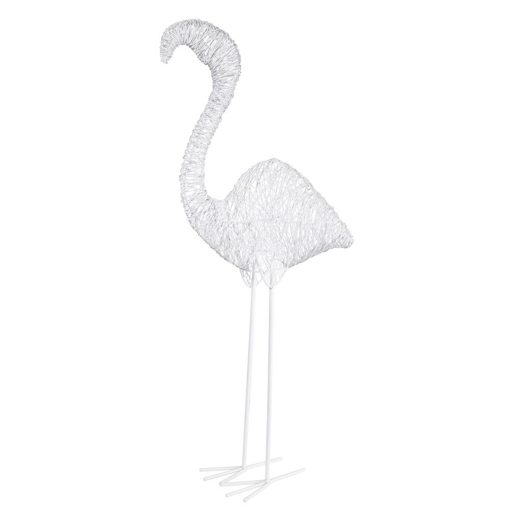 statue flamant en fil de m tal blanc caraibe maisons du monde. Black Bedroom Furniture Sets. Home Design Ideas