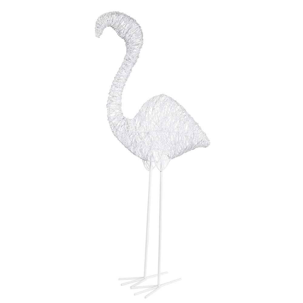 statue flamant en fil de m tal blanc caraibe. Black Bedroom Furniture Sets. Home Design Ideas