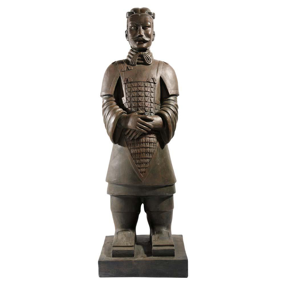 statue guerrier de xian en fibre d 39 argile marron h 124 cm