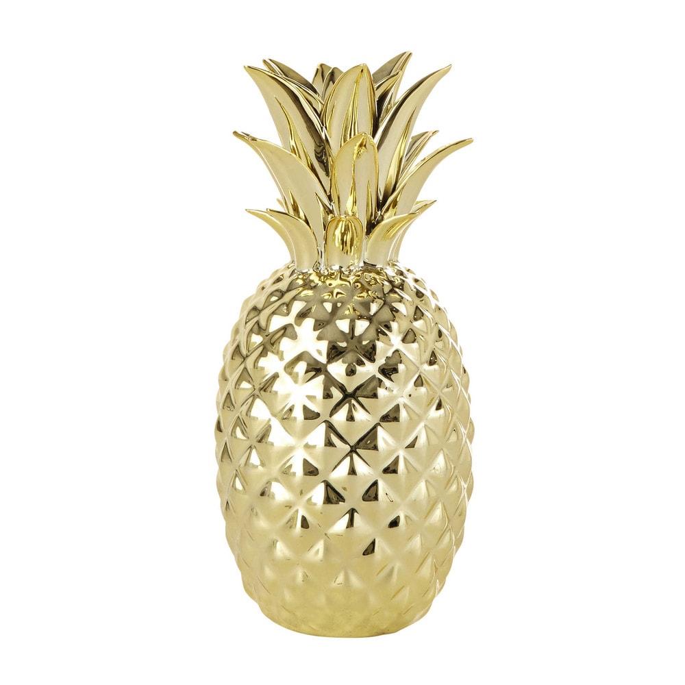 statuetta ananas dorata h 23 cm maisons du monde. Black Bedroom Furniture Sets. Home Design Ideas