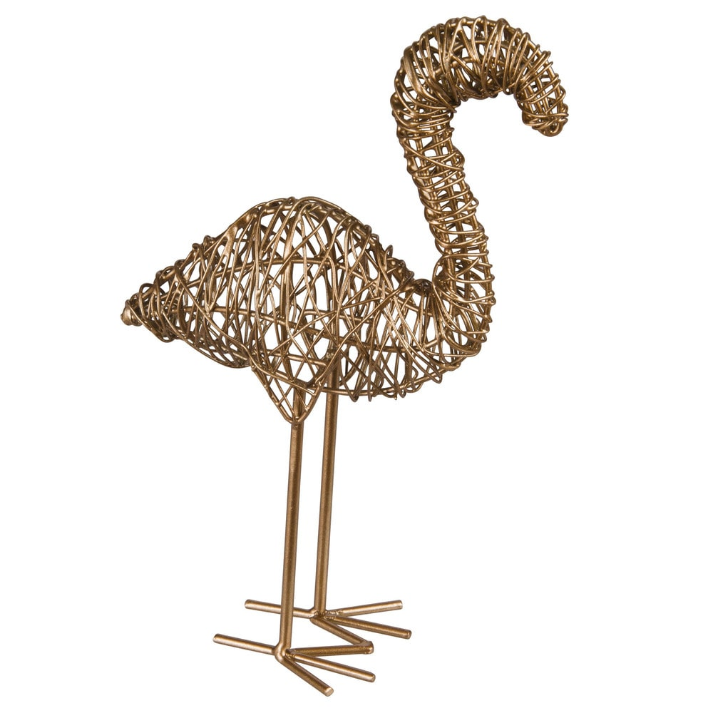 statuette flamant rose en m tal dor h15 maisons du monde. Black Bedroom Furniture Sets. Home Design Ideas