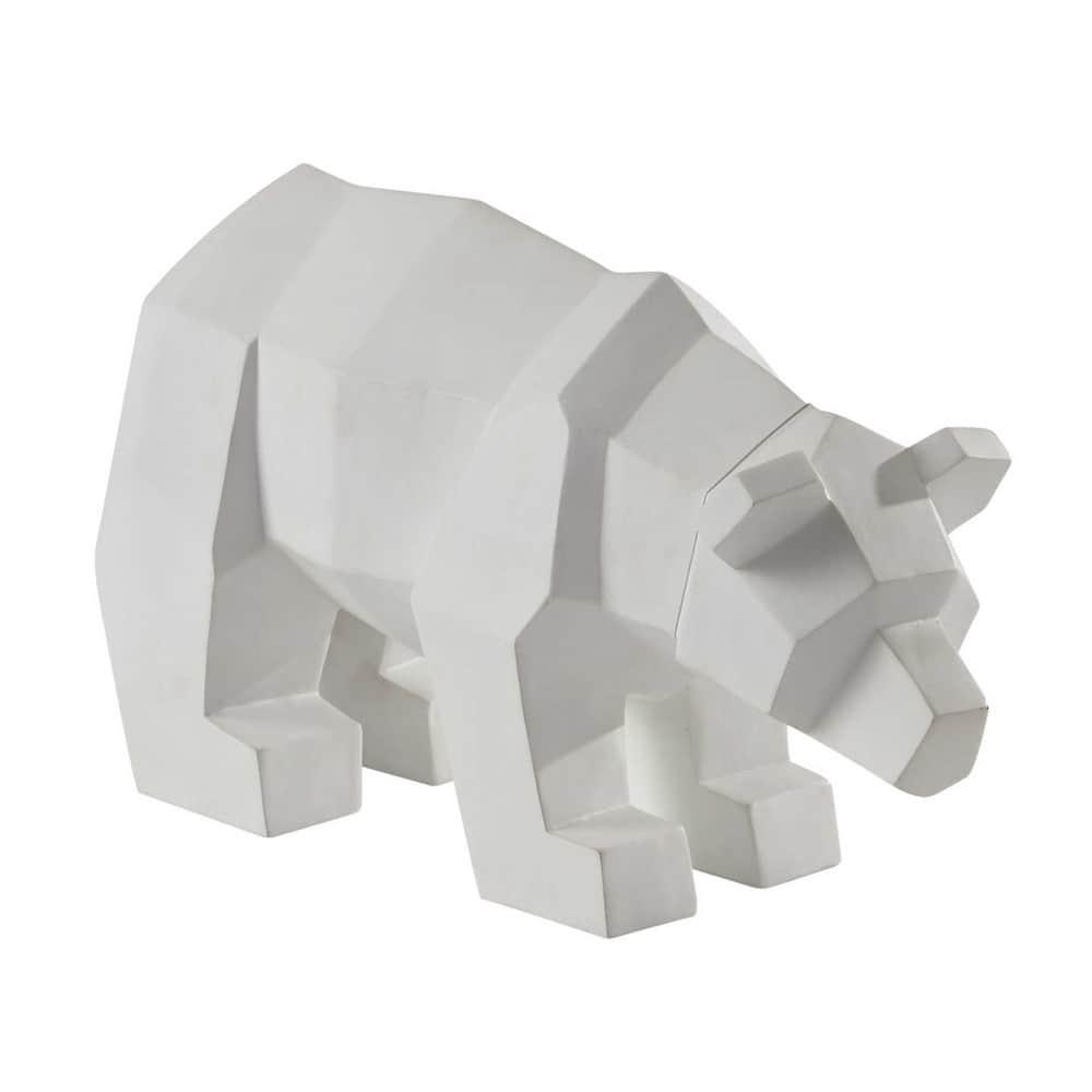 Statuette Ours En Resine Blanche L 36 Cm WHITE