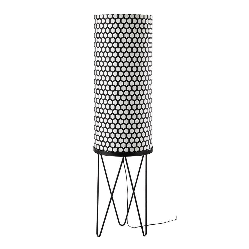 stehlampe calligraphik aus metall und baumwolle h 130 cm schwarz wei maisons du monde. Black Bedroom Furniture Sets. Home Design Ideas