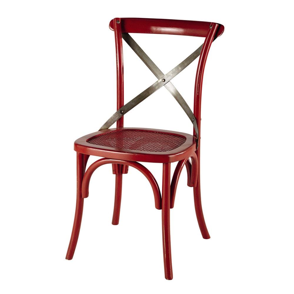 Stoel rotan en metaal rood tradition maisons du monde for Rotan eettafel stoel