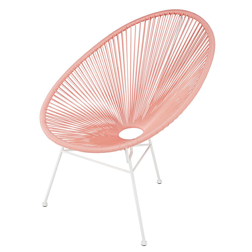 stoel van poederroze wickerdraad en wit metaal copacabana. Black Bedroom Furniture Sets. Home Design Ideas