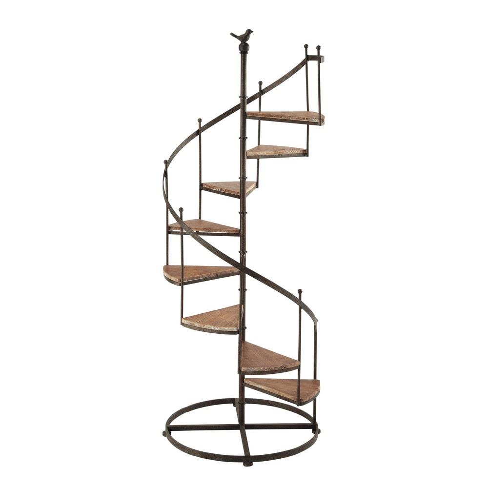 Etagere Aus Holz Und Metall ~ Stufenregal CASTELLANE aus Metall und Holz mit Rosteffekt, B 53 cm
