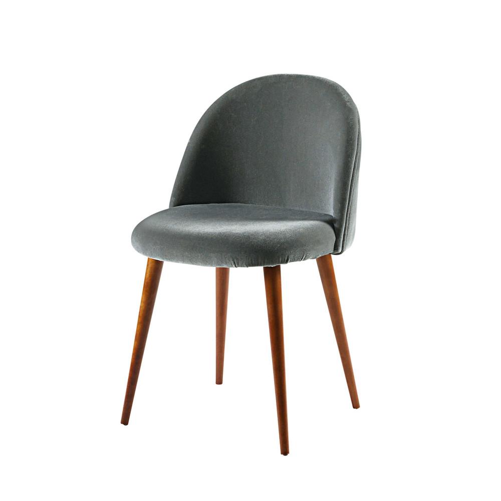 stuhl aus anthrazitfarbenem samt und massivbirke. Black Bedroom Furniture Sets. Home Design Ideas