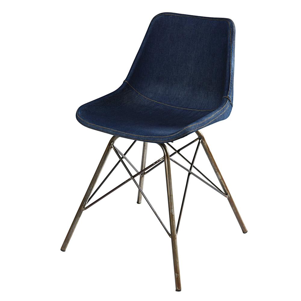 stuhl aus jeansstoff und metall austerlitz maisons du monde. Black Bedroom Furniture Sets. Home Design Ideas