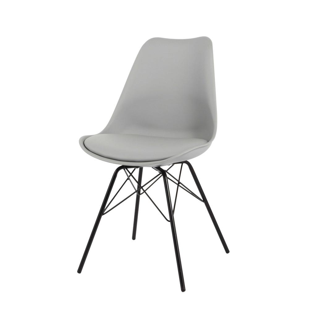 Stuhl aus kunststoff und metall grau coventry maisons for Stuhl metall