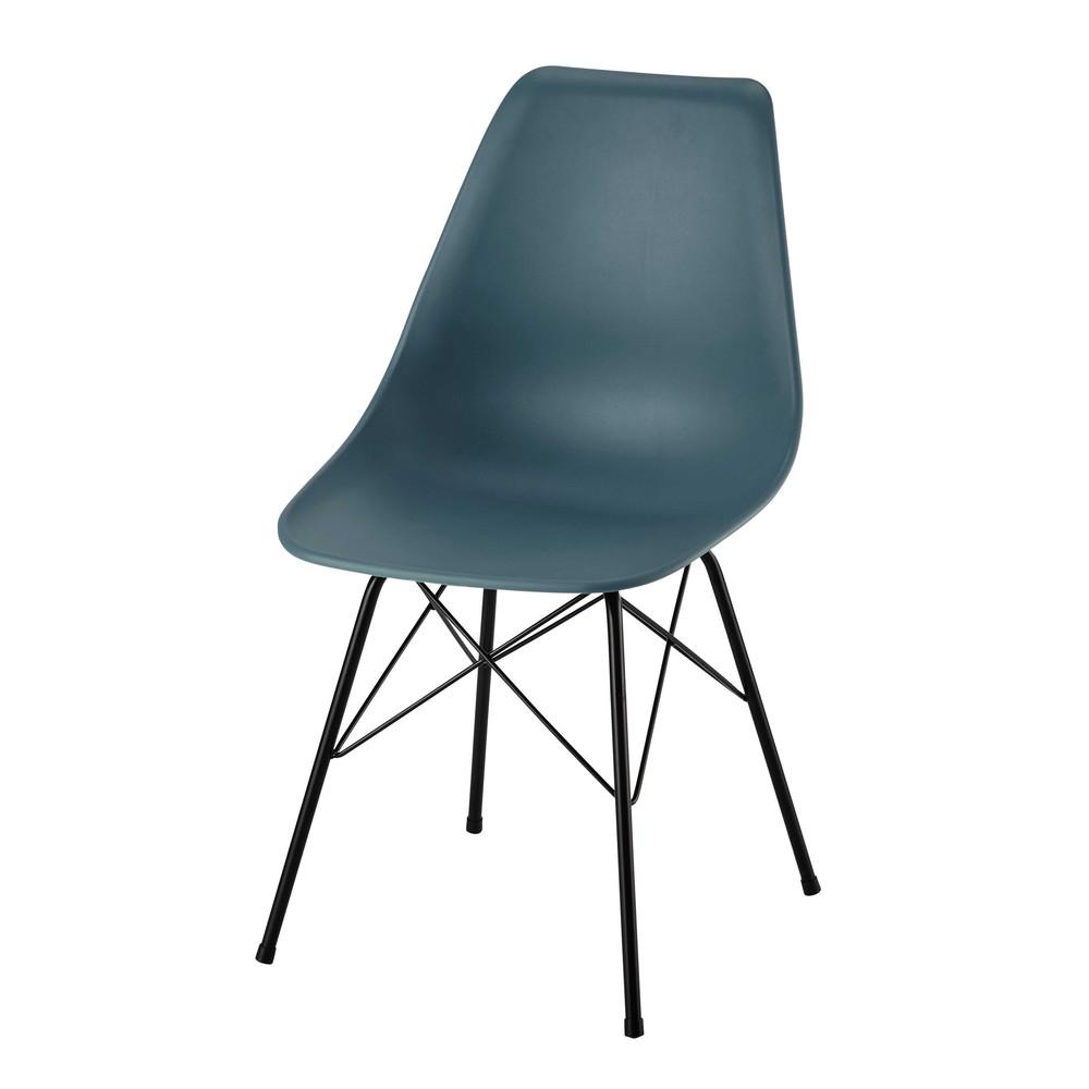 stuhl aus polypropylen und metall blau cardiff maisons. Black Bedroom Furniture Sets. Home Design Ideas