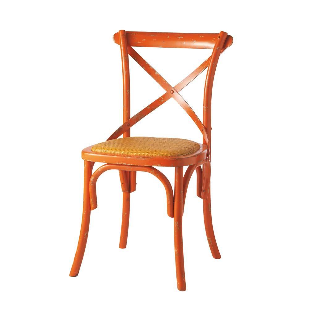 stuhl aus rattan und massivholz orange tradition tradition maisons du monde. Black Bedroom Furniture Sets. Home Design Ideas