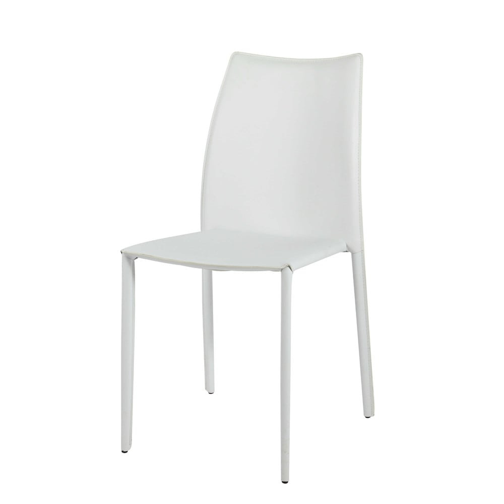 Schreibtischstuhl weiß holz  Stuhl aus recyceltem Leder, weiß Klint | Maisons du Monde