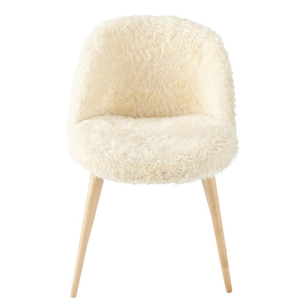 Stuhl im vintage stil aus fellimitat und massiver birke elfenbein mauricette - Maison du monde vintage ...