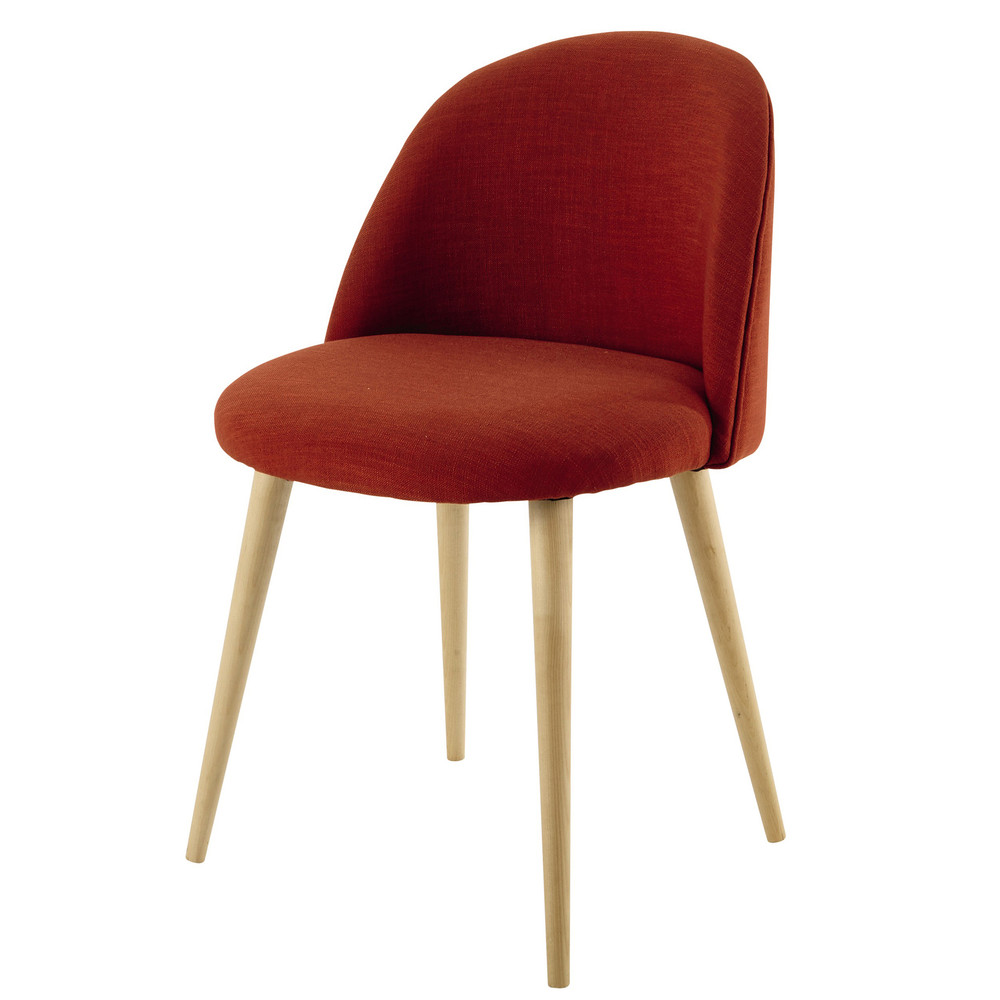 stuhl im vintage stil aus stoff korallenrot mauricette maisons du monde. Black Bedroom Furniture Sets. Home Design Ideas