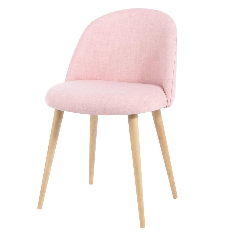 Stuhl im vintage stil aus stoff rosa