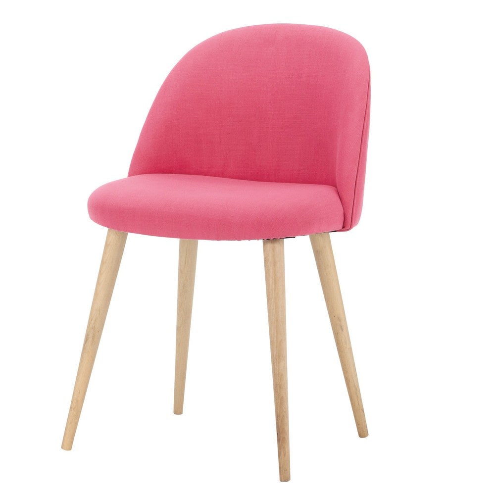 stuhl im vintage stil aus stoff und massiver birke fuchsia mauricette maisons du monde. Black Bedroom Furniture Sets. Home Design Ideas
