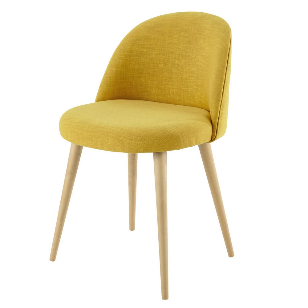 stuhl im vintage stil aus stoff und massiver birke gelb mauricette maisons du monde. Black Bedroom Furniture Sets. Home Design Ideas