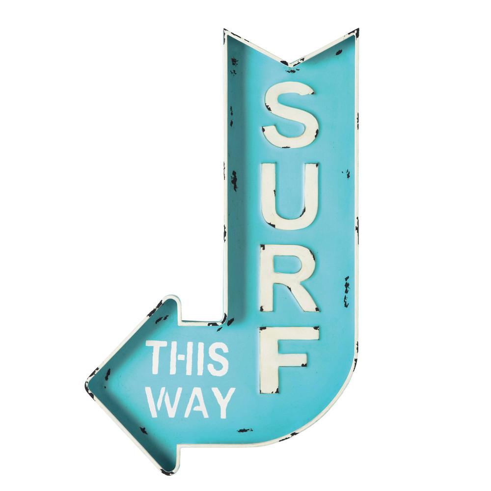 surf metal arrow wall sign in blue 50 x 80cm maisons du. Black Bedroom Furniture Sets. Home Design Ideas