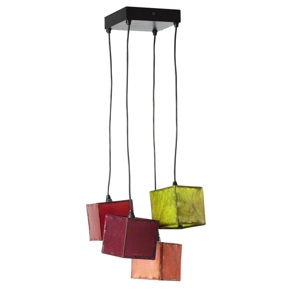 suspension 4 abat jour en m tal noire l 28 cm jodhpur. Black Bedroom Furniture Sets. Home Design Ideas