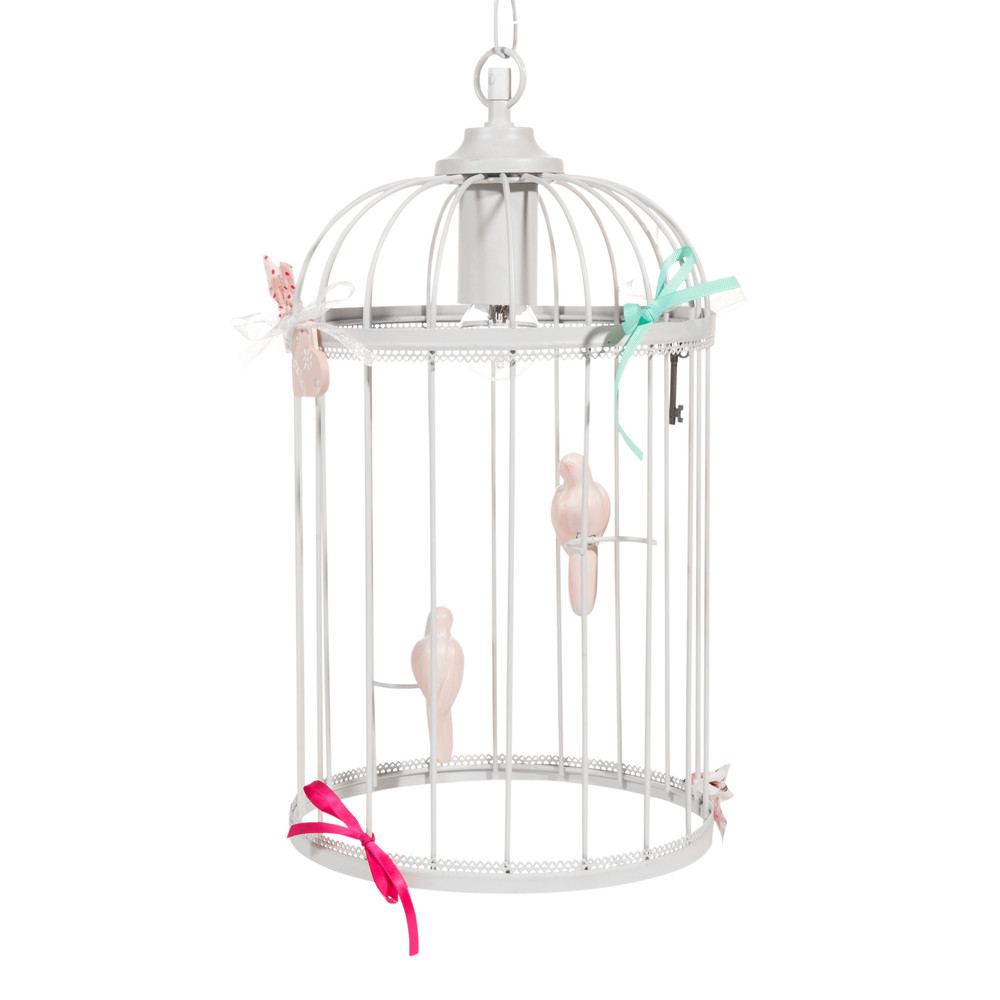 suspension cage oiseaux en m tal blanc h 38 cm maisons du monde. Black Bedroom Furniture Sets. Home Design Ideas