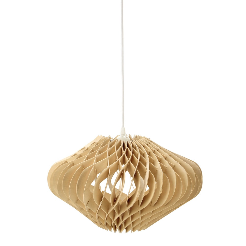 Suspension en bois d 42 cm wooden maisons du monde for Suspension bois