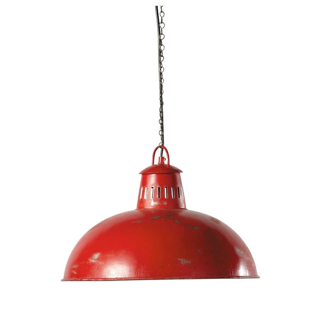 Suspension indus en m tal rouge d 41 cm brooklyn maisons for Suspension rouge cuisine